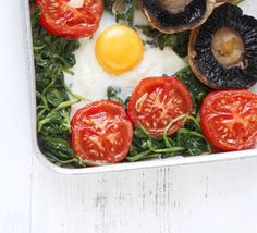 Veggie breakfast bakes. Hit 3 of your 5-a-day with this alternative fry-up - it's packed with vegetables and oven-baked.