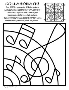 20 NEW, original tiles to decorate - then collaborate - for a rad radial artwork!  Music, musical notes.
