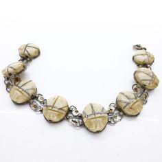 Vintage Art Deco Egyptian Revival Silver Scarab Ox bone Bracelet | Clarice Jewellery | Vintage Costume Jewellery