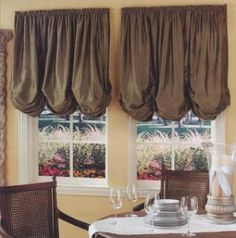 One of the soft modes of window treatments is the use of shades. Shades are described as soft window Balloon Curtains, Valance Curtains, Window Valances, Window Coverings, Window Treatments, Country Style Curtains, Grey Blackout Curtains, Balloon Shades, Drapery Designs
