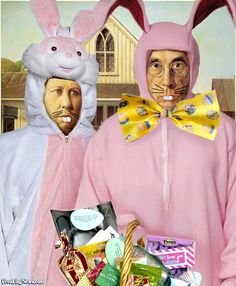 American Gothic Easter by Mundo American Gothic Painting, American Gothic Parody, Easter Pictures, Funny Pictures, Grant Wood Paintings, Easter Paintings, Gothic Pictures, Art Grants, Famous Artwork