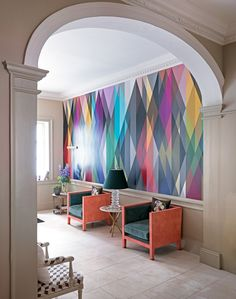 Neutral Modern Hallway with Multicoloured Graphic Wallpaper - The Room Edit Modern Hallway, Graphic Wallpaper, Geometric Wallpaper, Multicoloured Wallpaper, Diamond Wallpaper, Interior Wallpaper, Wallpaper Art, Striped Wallpaper, Modern Wallpaper