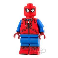 Lego Spiderman based on the recent Spiderman Homecoming film. Lego Spiderman, Lego Custom Minifigures, Lego Minifigs, Lego Ninjago, Lego Star Wars, Arte Bar, Lego Man, Lego Guys, Shop Lego