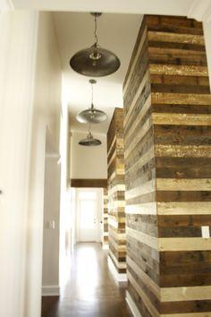 reclaimed wood wall. hallway.