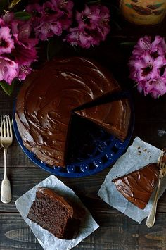 Dark chocolate Guinness cake with Guinness ganache