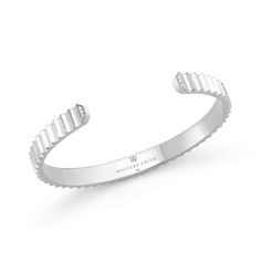 Clive | 18K White Gold 6mm Fluted Bangle with Diamond Edge