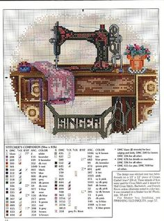 Cross Stitch Charts Vintage Singer sewing machine free cross stitch pattern by alissa Counted Cross Stitch Patterns, Cross Stitch Designs, Cross Stitch Embroidery, Embroidery Patterns, Hand Embroidery, Free Cross Stitch Charts, Cross Stitching, Needlework, Sewing Machines