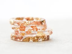 Resin Stacking Ring Yellow Pink Gold Flakes Thin Small Ring OOAK boho minimalist jewelry rusteam. €19.00, via Etsy.