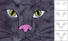 Art Projects for Kids: Black Cat Face Halloween