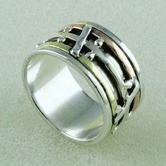 Desiger Attractive Multi Tone Spinning Ring_Hand Made 925 Sterling Siver #SilvexImagesIndiaPvtLtd #Band