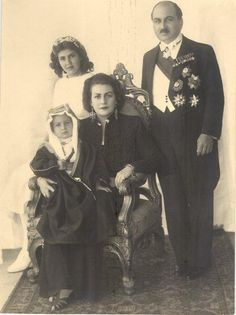 Princess Fahrelnissa Zeid, husband Prince Zeid bin Huseyin, the ambassador of Iraq to Ankara and brother of King Faisal I., their son Prince Ra'ad and her daughter from the first marriage with novelist Izzet Melih Devrim, Şirin Devrim.
