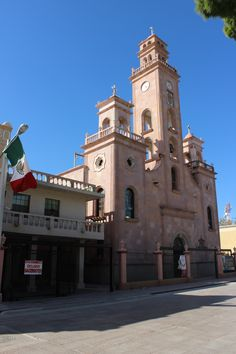 Main cathedral in Piedras Negras, with priests' parking