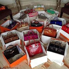 She's known for her love of extravagant accessories, and it appears that Roxy Jacenko's collection of luxury Hermes Birkin bags numbers at least thirty, and counting. Hermes Birkin, Hermes Bags, Hermes Handbags, Purses And Handbags, Birkin Bags, Coach Handbags, Beautiful Handbags, Beautiful Bags, Luxury Bags