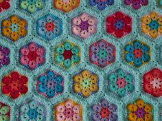 African flower hexagon blanket - work in progress