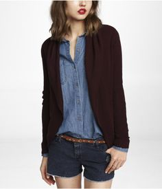 wine cardigan with denim shirt - pair with dark jeans & boots :)