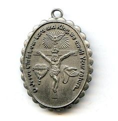Vtg Creed Jesus Christ Lord & King / Mary Immaculate Heart Pewter Medal 1-3/16""