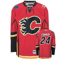 Authentic Craig Conroy Red Men s NHL Jersey   24 Calgary Flames Reebok Home  Custom Hockey 538c4c44c