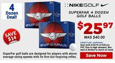 Our Cost Is Your Cost Deal: Nike Super Far Double Dozen Golf Balls are only $13.99 or $25.97 for two. https://www.golfdiscount.com/nike-super-far-double-dozen-golf-balls?utm_source=pinterest&utm_medium=referral&utm_campaign=OCYC%20Nike%20superfar%208-22