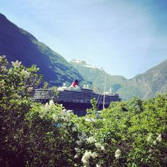 Sunny and lovely day in #Geiranger fjord, #Norway - Summer starting Queen Elizabeth is here - #Norge