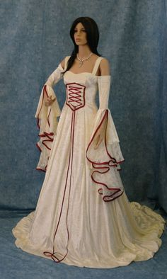 Medieval Wedding Dresses | Handfasting Medieval Wedding Dress LOTR Renaissance Fantasy Gown ...