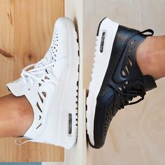 """""""Cut from the same cloth as the legends, deconstructed for the modern fashionista – the Nike Sportswear Air Max Thea Joli 'Black & White Pack' has just…"""""""