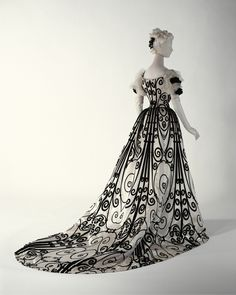 Elaborate ball gown, circa 1890-1900