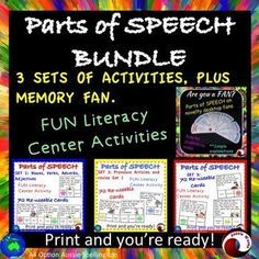 Teaching all PARTS OF SPEECH with this printable Literacy Center Activity; all about NOUNS, VERBS, ADVERBS, ADJECTIVES, PRONOUNS, PREPOSITIONS ETC. Poster and 20 Task Cards. I think these tasks will consolidate students' knowledge and interest them at the same time. I've tried to vary the tasks; identifying in texts; associating with images.