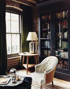 Via Domino Magazine - I love the masculinity of this room