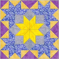 Star Flowers Paper Piece Template Quilting Block Pattern PDF