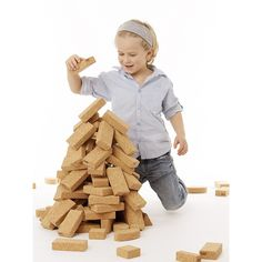 Children will love this lightweight cork building block set. Great for encouraging fine motor skills and concepts of design. Includes: 45 x Large Blocks H x 6 W x d), 15 x Small Blocks H x 6 W x d) and 1 x Cotton Bag. Raise Funds, Joy And Happiness, Early Learning, Cork, The Incredibles, Building, Projects, Freestyle, Engineering