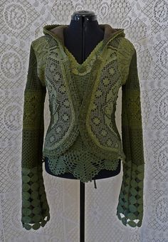 SHORT CARDIGAN JACKET cardigan fleece crochet gypsy by SINDdesign