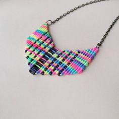 Micro macrame necklace  Rainbow Black Arrow by MartaJewelry, $22.00