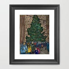 Rockefeller Center Tree Digital Illustration Framed Art Print