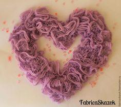 Купить Шарф-боа воздушный с рюшами - сиреневый, однотонный, шарф вязаный, шарфик…