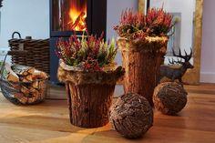 Heidepflanzen in rustikalen Baumstamm-Töpfen befeuern die Fantasie und sorgen für ein fabelhaftes Ambiente.