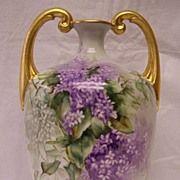Rare, Huge, & Handsome Limoges  Muscle Vase w/ Splendid Draping Lavender & White Wisteria Flow