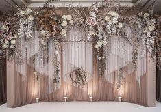 Flow of curtains and movement of crystal ribbons . . #birddyandben #weddingreception #backdrop