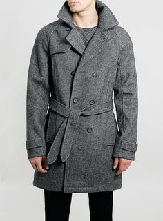 Topman Wool Blend Trench, A hearty, double-breasted trench coat is crafted from a soft wool blend and tailored with all the classic details, equipping your wardrobe with dapper outerwear in a traditional look and feel. Grey Overcoat, Trench Coat Men, Mens Winter Coat, Summer Jacket, Men's Coats And Jackets, Urban Outfits, Black Jeans, Wool Blend, How To Wear