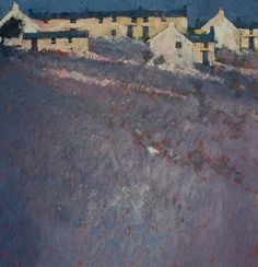 Hill Farm | John Piper - like composition of houses pushed up to top of image.