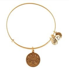 NWT - Alex & Ani Gold Lotus Peace Charm Bangle Rafelian gold EWB has the 3 signature charms and the main charm is a round medallion with the lotus flower engraved in it. This is my last one. Tags attached Alex & Ani Jewelry Bracelets