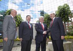 Gerry Davis, Niall Quinn, An Tanaiste Eamon Gilmore and Nigel Heneghan (Heneghan PR and PRCA Chairman)