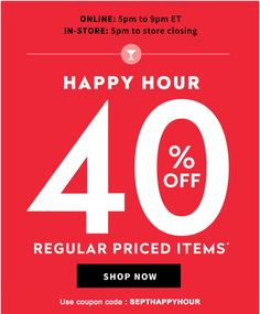 Addition Ell Canada Online Happy Houe: Save 40% Off Regular Priced Items With Promo Code From 5  9 pm ET Today http://www.lavahotdeals.com/ca/cheap/addition-ell-canada-online-happy-houe-save-40/116308
