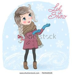 Hand drawn beautiful cute little winter girl on background with inscription Let it Snow. Vector illustration.