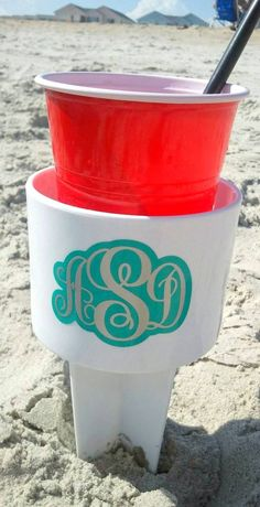 Personalized beach spiker beverage cup holders. Keep your drinks from tipping over! Available in many colors with personalized monogram options. Fun destination wedding or bridesmaid beach gift!