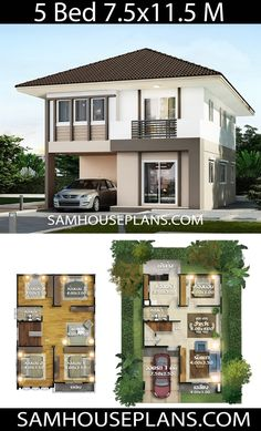 House plans idea with 5 bedrooms – Sam House Plans – Home One Floor Design 3d House Plans, Model House Plan, House Layout Plans, Duplex House Plans, Craftsman House Plans, Dream House Plans, Small House Plans, House Layouts, Two Story House Design
