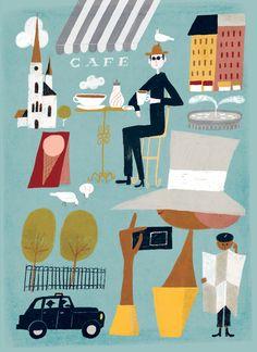 Sanna Mander | Agent Pekka Cut Paper Illustration, Paper Cutting, Finland, Kids Rugs, Artist, Postcards, Decor, Decoration, Collage Artwork