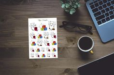 Hand drawn fox planner stickers playing kids for erin