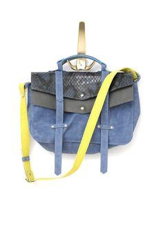 eafe90ea2bae Leather messenger bag - cross body bag - Neon yellow- Bang bag Crazy jeans  snake