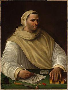 Portrait of an Olivetan Monk ~ Attributed to Baldassare Tommaso Peruzzi   (Italian, Ancaiano 1481–1536 Rome)  http://it.wikipedia.org/wiki/Baldassarre_Peruzzi