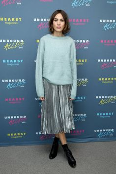 On Alexa Chung: Loewe Metallic Pleated Skirt Style Notes: For a versatile look that'll work at breakfast or dinner? Take one metallic pleated skirt, add some sleek leather. Celebrity Dresses, Celebrity Style, Alexa Chung Style, Alexa Chung 2016, Alexa Chung Hair, Metallic Pleated Skirt, Silver Skirt, Pleated Skirts, Metallic Skirt Outfit